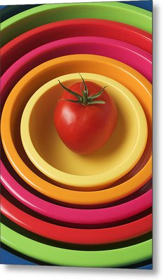Tomato In Mixing Bowls Metal Print by Garry Gay