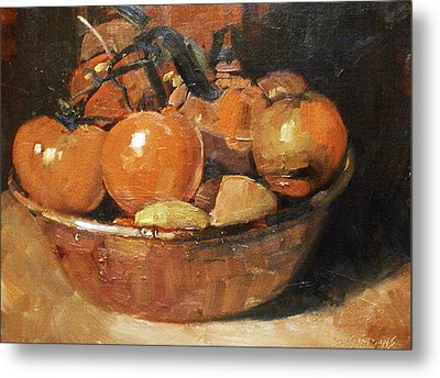 Tomatoes In A Copper Bowl Metal Print by David Simons