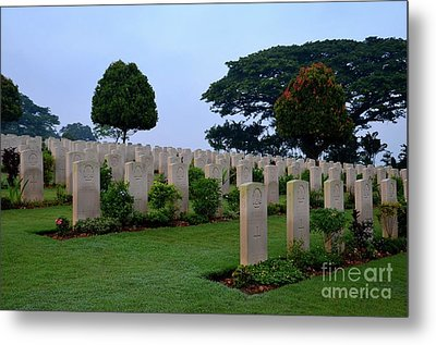 Tombstones Of Soldiers At Kranji Commonwealth War Cemetery Graveyard Singapore Metal Print