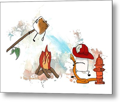 Metal Print featuring the digital art Too Toasted Illustrated by Heather Applegate