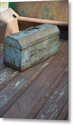 Toolbox In A Rusty Old Chevy Metal Print by Don Columbus