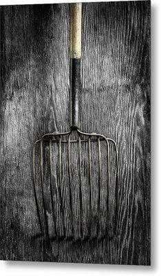 Metal Print featuring the photograph Tools On Wood 25 On Bw by YoPedro