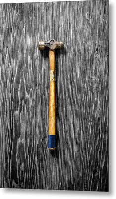 Metal Print featuring the photograph Tools On Wood 51 On Bw by YoPedro