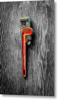 Metal Print featuring the photograph Tools On Wood 62 On Bw by YoPedro