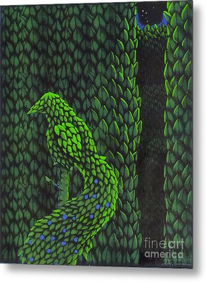 Topiary Peacock Metal Print