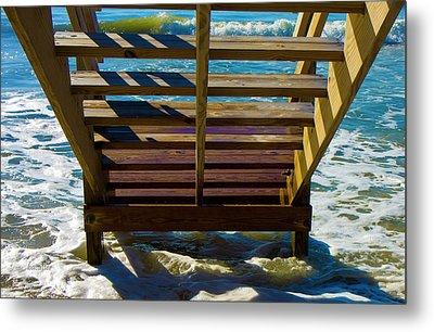 Topsail Island Ocean Steps Metal Print by Betsy Knapp