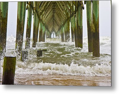 Topsail Island Pier Metal Print by Betsy Knapp