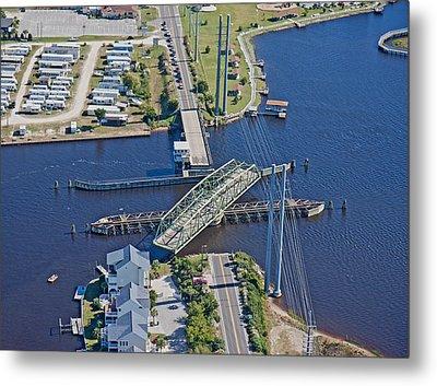 Topsail Island Swing Bridge Metal Print by Betsy Knapp