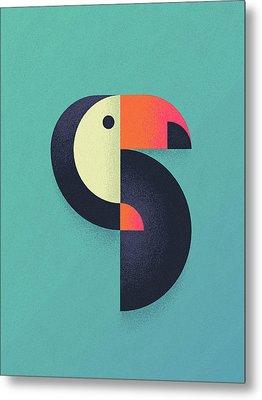 Toucan Geometric Airbrush Effect Metal Print