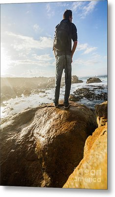 Tourist Looking At The Ocean Metal Print by Jorgo Photography - Wall Art Gallery