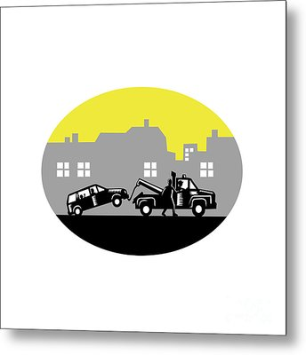 Tow Truck Towing Car Buildings Oval Woodcut Metal Print by Aloysius Patrimonio