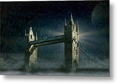 Tower Bridge In Moonlight Metal Print