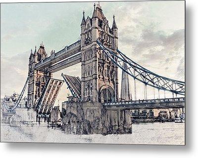 Metal Print featuring the digital art Tower Bridge by Pennie  McCracken