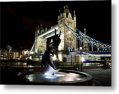 Tower Bridge With Girl And Dolphin Statue Metal Print