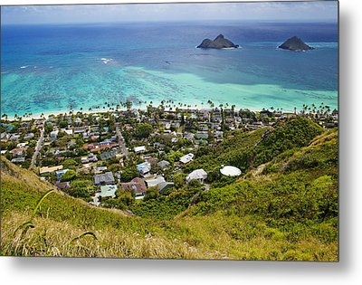 Town Of Kailua With Mokulua Islands Metal Print by Inti St. Clair
