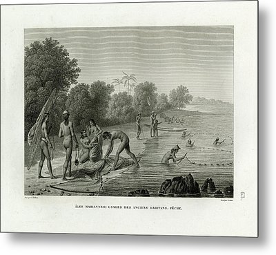 Metal Print featuring the drawing Traditional Fishing Methods On Guam by A Pelion