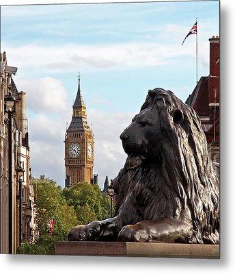 Trafalgar Square Lion With Big Ben Metal Print by Gill Billington