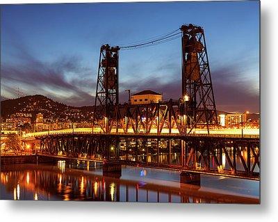 Traffic Light Trails On Steel Bridge Metal Print by David Gn