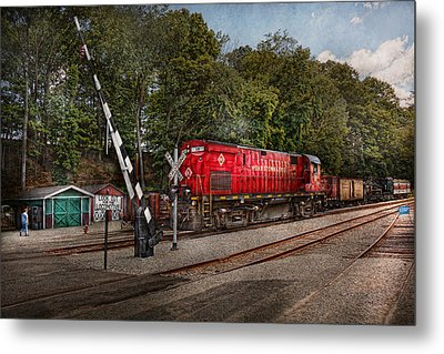 Train - Diesel - Look Out For The Locomotive  Metal Print by Mike Savad