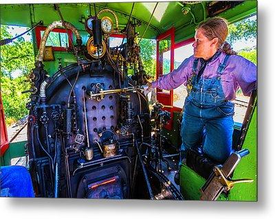 Train Engineer Metal Print
