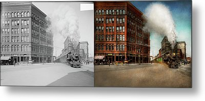 Train - Respect The Train 1905 - Side By Side Metal Print by Mike Savad