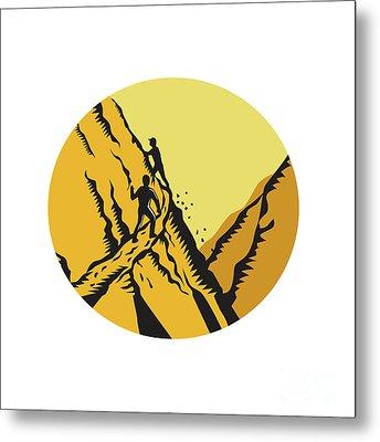 Trampers Climbing Steep Path Mountain Oval Woodcut Metal Print by Aloysius Patrimonio