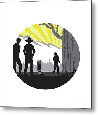 Trampers Mile Marker Giant Tree Oval Woodcut Metal Print by Aloysius Patrimonio