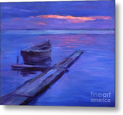 Tranquil Boat Sunset Painting Metal Print