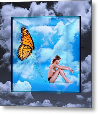 Trapped Butterfly Metal Print