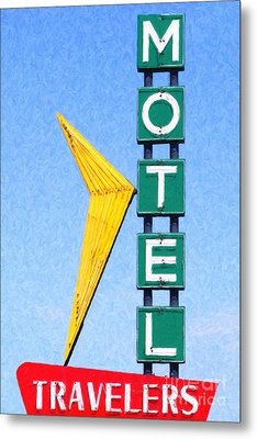 Travelers Motel Tulsa Oklahoma Metal Print by Wingsdomain Art and Photography