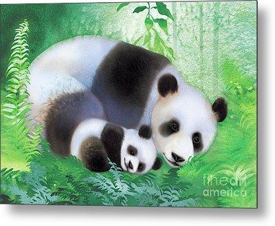 Treasure Garden Pandas Metal Print by Tracy Herrmann