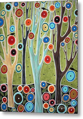 Tree Blooms And Birds Metal Print by Karla Gerard