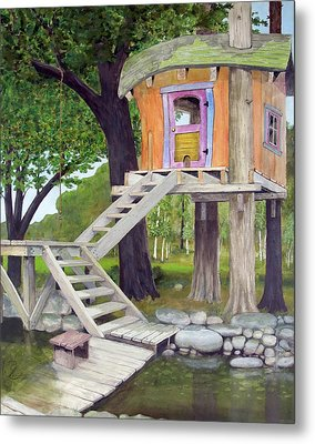 Tree House Pond Metal Print by Will Lewis