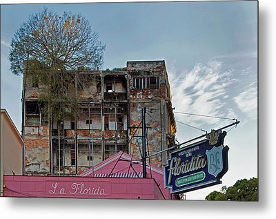 Metal Print featuring the photograph Tree In Building Over La Floridita Havana Cuba by Charles Harden