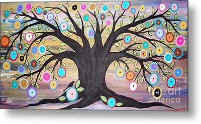 Tree Of Life And Bird Metal Print by Karla Gerard