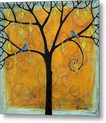 Tree Of Life In Yellow Metal Print by Blenda Studio