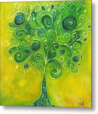 Tree Of Life Yellow Swirl Metal Print by Christy  Freeman