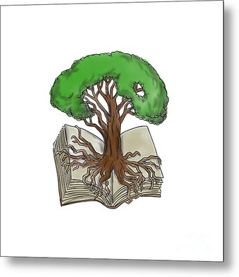 Tree Rooted On Book Tattoo Metal Print