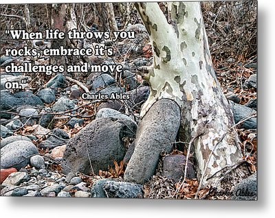 Tree With Quote Metal Print by Charles Ables