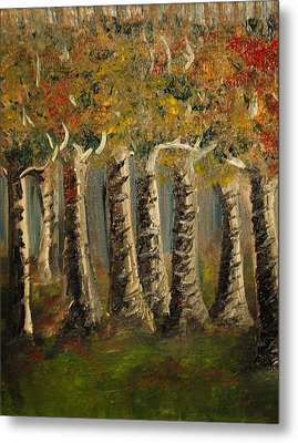 Metal Print featuring the painting Trees by Evelina Popilian