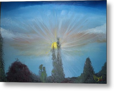 Metal Print featuring the painting Treetops by Barbara Hayes