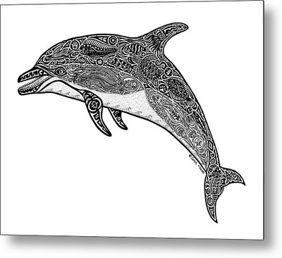 Tribal Dolphin Metal Print