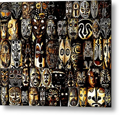Tribal Masks Of Papua New Guinea Metal Print by Per Lidvall