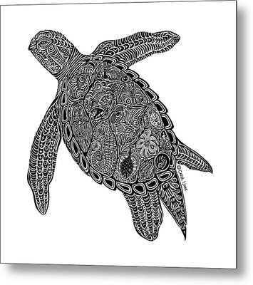 Tribal Turtle I Metal Print by Carol Lynne