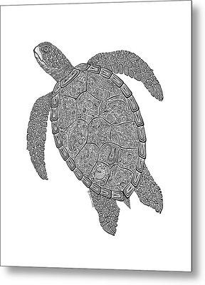Tribal Turtle II Metal Print by Carol Lynne