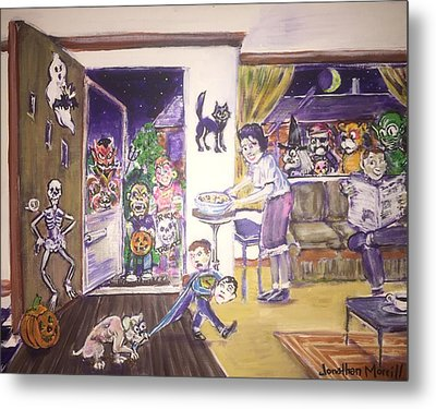 Trick Or Treat On Exeter Street Metal Print