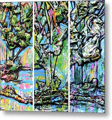 Triptych Of Three Trees By A Brook Metal Print by Genevieve Esson