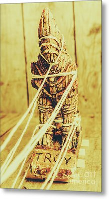 Trojan Horse Wooden Toy Being Pulled By Ropes Metal Print by Jorgo Photography - Wall Art Gallery