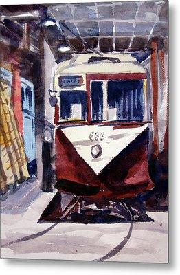 Trolley Maintenance Metal Print by Ron Stephens