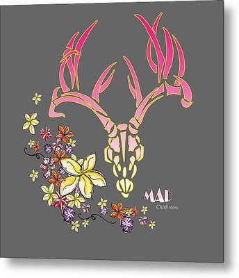 Tropical Antlers By Mad Outfitters Metal Print